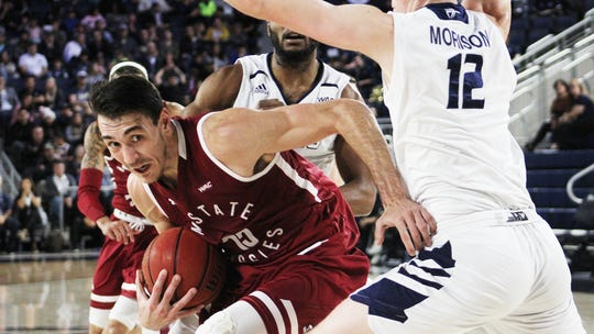 Senior Ivan Aurrecoechea battles in the paint during New Mexico State's 86-71 win over California Baptist on Saturday, Jan. 5, in Riverside, California.