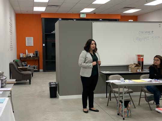 Riverside County Board of Education Member Elizabeth Romero vies for the California Democratic Party endorsement in the 2020 special election to replace State Senator Jeff Stone in Palm Desert, Calif. on Jan. 4, 2020.