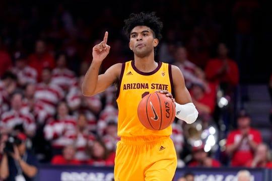 Arizona State guard Remy Martin (1) in the first half during an NCAA college basketball game against Arizona, Saturday, Jan. 4, 2020, in Tucson, Ariz. (AP Photo/Rick Scuteri)