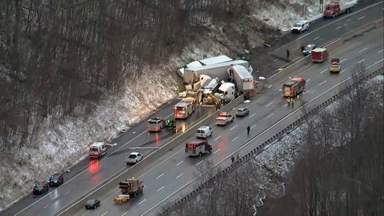 This image from video provided by KDKA TV shows the scene near Greensburg, Pa. along the Pennsylvania Turnpike where multiple people were killed and dozens were injured in a crash early Sunday, Jan. 5, 2020 that involved multiple vehicles, a transportation official said. (KDKA TV via AP)