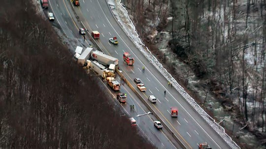 This image from video provided by KDKA TV shows the scene near Greensburg, Pa. along the Pennsylvania Turnpike where at least five people were killed and dozens were injured in a crash early Sunday, Jan. 5, 2020 that involved multiple vehicles, a transportation official said. (KDKA TV via AP)