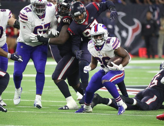 Bills running back Devin Singletary rushed for 58 yards against the Texans.