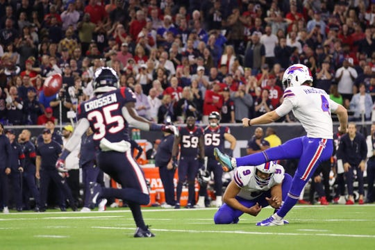 HOUSTON, TEXAS - JANUARY 04:  Stephen Hauschka #4 of the Buffalo Bills kicks the game-tying field goal against the Houston Texans during the fourth quarter of the AFC Wild Card Playoff game at NRG Stadium on January 04, 2020 in Houston, Texas. (Photo by Christian Petersen/Getty Images)