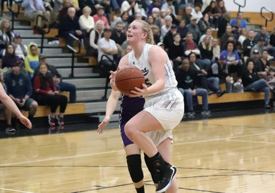 Redding Christian's Sammie Wunner looks to make a basket against Willows in the title game of the Lady Hornet Classic at Enterprise High School on Saturday, Jan. 4, 2020. Redding Christian lost to Willows 52-46.