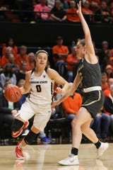Colorado's Emma Clarke (3) defends against Oregon State's Mikayla Pivec (0) during the first half of an NCAA college basketball game in Corvallis, Ore., Sunday, Jan. 5, 2020. (AP Photo/Amanda Loman)