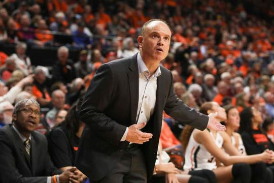 Oregon State head coach Scott Rueck discusses a call with a referee during the second half of an NCAA college basketball game against Colorado in Corvallis, Ore., Sunday, Jan. 5, 2020. (AP Photo/Amanda Loman)