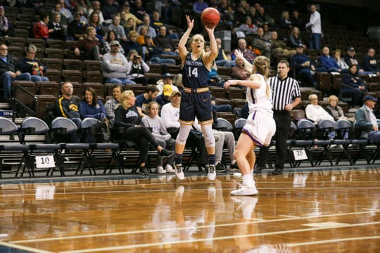 Augustana's Abby Hora goes up for a shot Saturday at the Pentagon.
