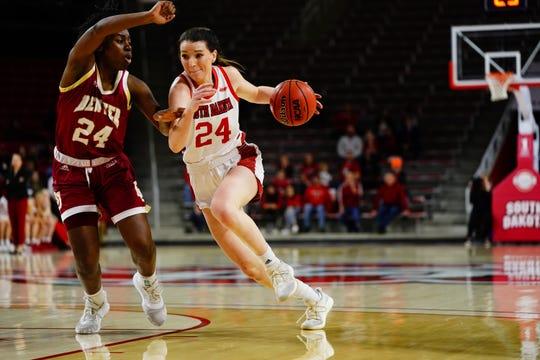 South Dakota guard Ciara Duffy drives to the basket against Denver's Uju Ezeudu on Sunday, Jan. 5 in Vermillion.