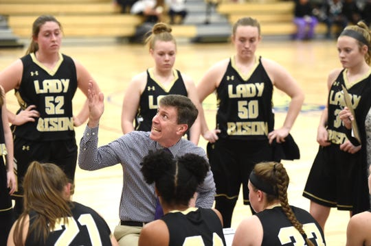 Buffalo Gap coach Phillip Morgan talks to his team before the start of the second quarter in a win over Western Albemarle at the Play for Preemies Showcase Saturday, Jan. 4.