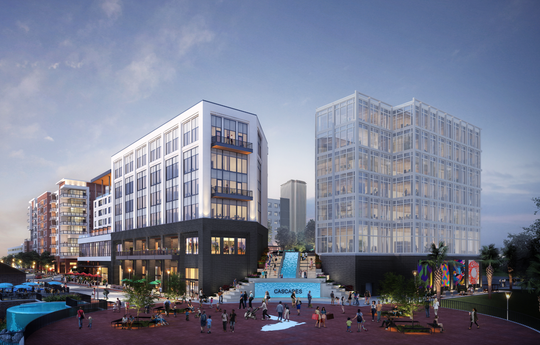 A July 2019 rendering of the $158 million Cascades Project underway on the edge of Cascades Park in Tallahassee.