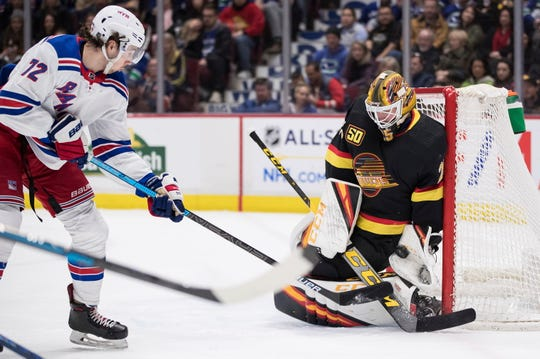 Vancouver Canucks goalie Jacob Markstrom, right, of Sweden, stops New York Rangers' Filip Chytil, of the Czech Republic, during the first period of an NHL hockey game Saturday, Jan. 4, 2020, in Vancouver, British Columbia.