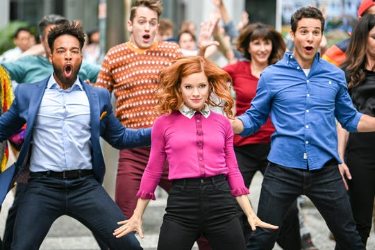 "John Clarence Stewart as Simon,  Jane Levy as Zoey Clarke and Skylar Astin as Max on ""Zoey's Extraordinary Playlist."""