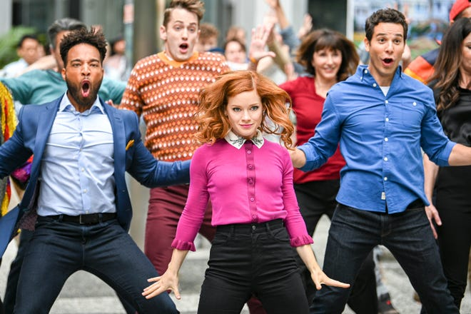 Jane Levy, front center, plays the title character in the NBC musical drama 'Zoey's Extraordinary Playlist.'