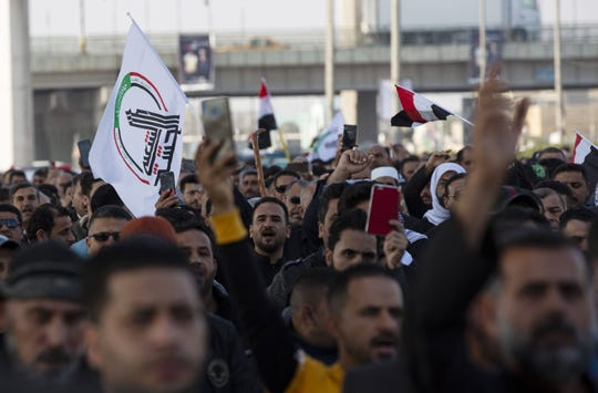 Demonstrators in Basra, Iraq, on Jan. 5 2020.