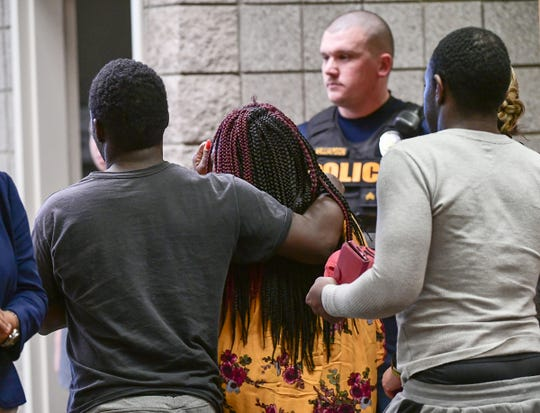 Family of shooting victim Landis O'Neal Osbey, 20, shot at his home on Cunningham Drive in Anderson, leave the courtroom after Rashard Mandrell Smith, 40, was denied bond during a hearing with Judge Stacy Blair in the Anderson courtroom Monday, January 6, 2020.
