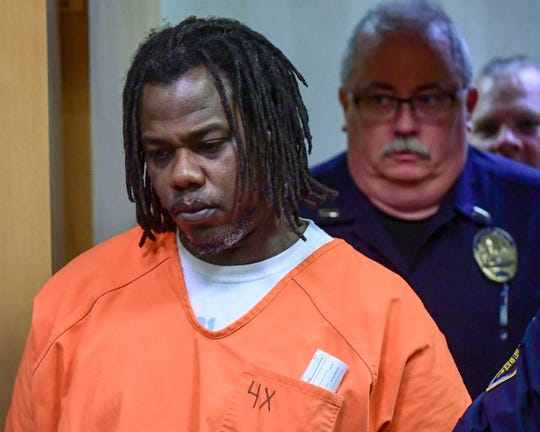 Rashard Mandrell Smith, 40, enters the courtroom before being denied bond during a hearing with Judge Stacy Blair in the Anderson courtroom Monday, January 6, 2020. Landis O'Neal Osbey was shot in the chest at his home on Cunningham Drive, according to the Anderson County Coroner's Office.