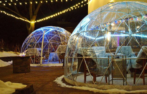 The DoubleTree by Hilton  hotel in Grand Chute now has three outdoor domes in its courtyard for restaurant guests.