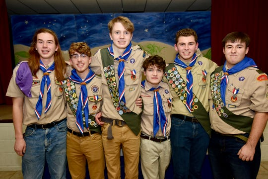 Six members of Boy Scout Troop 5 recently became Eagle Scouts, with half of them completing projects for a church or religious school. They are, from left: Quinn Diehl, Angelo Garufi, Adam Deuel, Gabriel Rogers, Ethan Topencik and Nathaniel Allen. All six are high school seniors. Garufi, Rogers and Topencik attend Seton Catholic Central High School, while Diehl, Deuhl and Allen attend Binghamton High School.