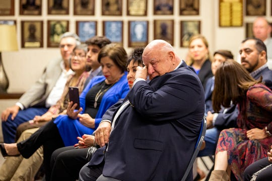 Texas A&M University-Kingsville introduced new Javelina head coach Mike Salinas during a press conference on Monday, January 6, 2019. Salinas' father, Eloy Salinas, became tearful during the press conference.