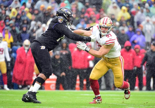 Dec. 1, 2019: San Francisco 49ers defensive end Nick Bosa (97) is defended by Baltimore Ravens offensive tackle Ronnie Stanley (79) at M&T Bank Stadium.