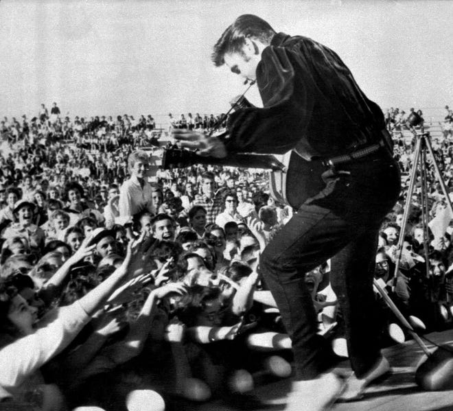 Elvis Presley returned triumphantly to his hometown on Sept. 26, 1956, to perform at the Mississippi-Alabama Fair and Dairy Show in Tupelo, Mississippi.