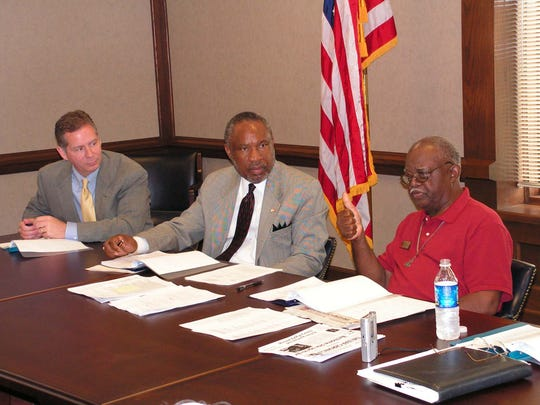 Then-state Rep. Joe Pitts, left, and Tennessee Veterans Affairs Commissioner John Keys listen as Montgomery County Veterans Nursing Home chairman Sidney Brown explains why the facility is important for local veterans, in this June 27, 2007, photo.