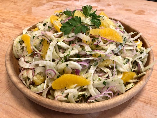 Fennel orange mint salad at the Farm Cooking School on Saturday, Jan. 4.