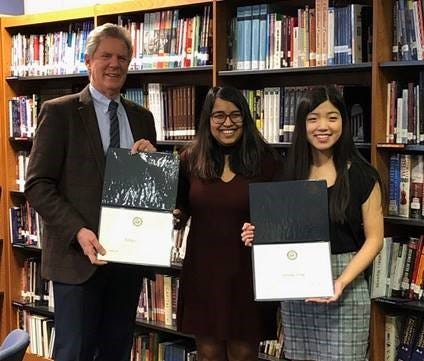 (Left to right) Congressman Frank Pallone, Jr., Adhya Khare of Monroe and Serena Zeng of Piscataway. Khare and Zeng attend Middlesex County Academy for Science, Mathematics, and Engineering Technologies.