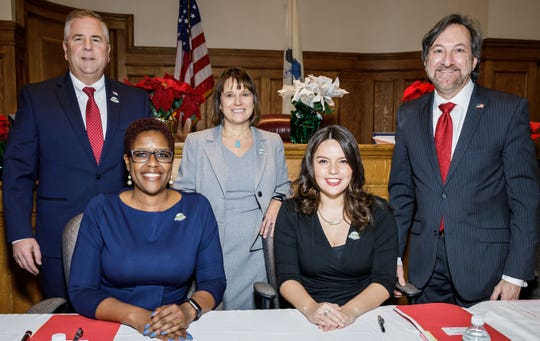 In the Historic Courthouse in Somerville, prior to the Board of Chosen Freeholders annual reorganization meeting are (left to right)Freeholder Brian G. Gallagher, Freeholder Director Shanel Y. Robinson, newly appointed Freeholder Melonie Marano, Freeholder Deputy Director Sara Sooy and Freeholder Brian D. Levine.