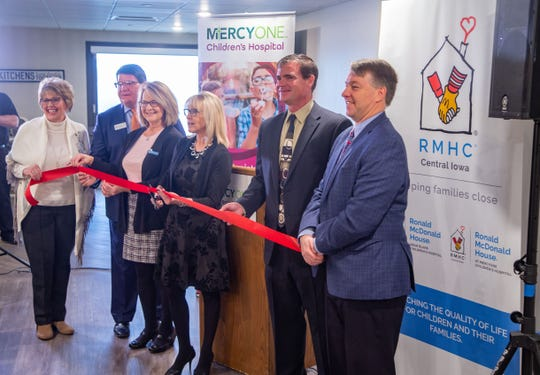 The ribbon cutting for the new Ronald McDonald House at MercyOne Children's Hospital Monday, Jan. 6, 2020.