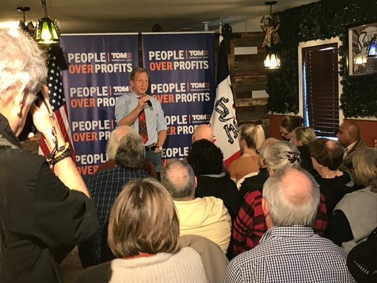 Democratic presidential candidate Tom Steyer speaks to a crowded room of about 60 people Sunday at La Carreta Mexican Grill in Marshalltown. Steyer stopped in Marshalltown on the final day of his five-day Iowa bus tour.