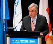 UN Secretary-General Antonio Guterres delivers a statement at the European headquarters of the United Nations in Geneva, Switzerland, in this Dec. 17, 2019, file photo.