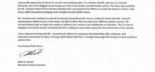 This is a portion of a letter that Mark Hackel, Macomb County executive, wrote in support of former House Speaker Tom Leonard's nomination for U.S. attorney for Western Michigan.