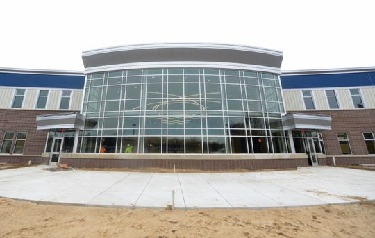 This is an exterior view of the new Fruitport High School which has been constructed with safety measures in mind to thwart and active shooter attack.