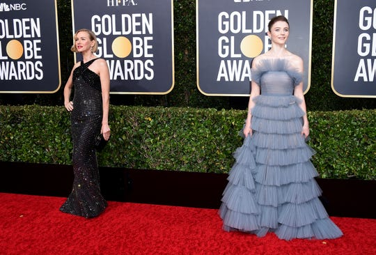 Naomi Watts, left, and Thomasin McKenzie arrive at the 77th annual Golden Globe Awards at the Beverly Hilton Hotel on Sunday, Jan. 5, 2020, in Beverly Hills, Calif.
