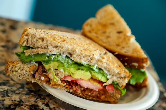 Life: The Vegan Drive Thru makes its BLTA with avocado and coconut bacon cured in house with olive oil and liquid smoke.