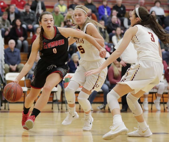 Hailey Oskey (0) was named Miss Basketball as a senior at Seymour in 2018.
