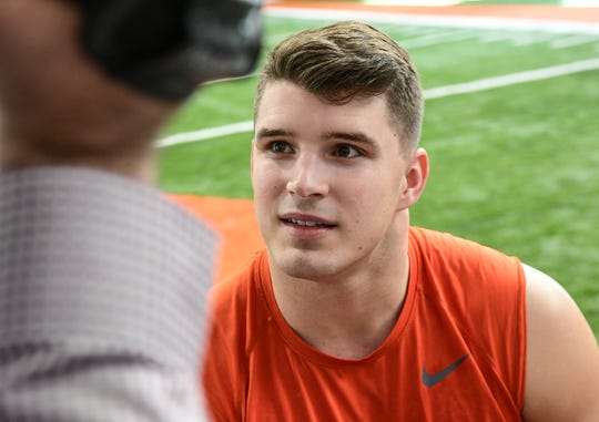 Clemson defensive end Logan Rudolph speaks with media at the Poe Indoor Facility in Clemson, South Carolina Saturday, January 6, 2020.