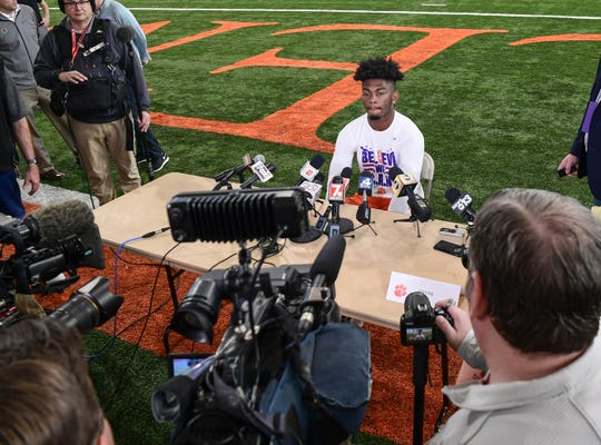 Clemson wide receiver Justyn Ross speaks with media at the Poe Indoor Facility in Clemson, South Carolina Saturday, January 6, 2020.