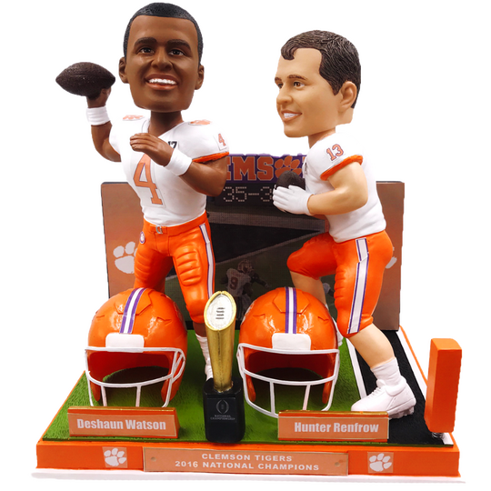 The commemorative bobbleheads depict the game-winning touchdown pass from quarterback Deshaun Watson, left, to wide receiver Hunter Renfrow, right, at the 2016 National Championship game against the University of Alabama.