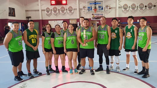 Bank of Guam captured the championship title in the coed rec division 60-50 win against MicroFriends in the 2019 Holiday TipOFF day of champions on Saturday at Tamuning Gym. EJ Cruz #3 was named MVP and received the top scorer award. Standing left to right are Calvin Fejeran, John Baza, Jessica Madrazo, Briana Santos, Joseph Guataotao, Jade Fejeran Conrad Berg, James Cruz, Symon Madrazo, Kevin Javier, EJ Cruz and Bedrick Briones. Visit www.guambasketball.com for official results.
