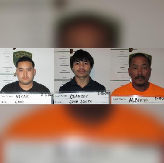 Combined mugshots of Chad Vivas, John Joseph Olandez and Manuel Alberto