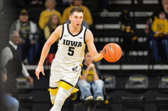 CJ Fredrick is Iowa's third-leading scorer at 10.3 points per game and sat out the second half of an 89-86 loss against Penn State on Saturday.