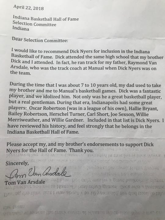 Tom Van Arsdale's letter recommending Dick Nyer for inclusion in the Indiana Basketball Hall of Fame.