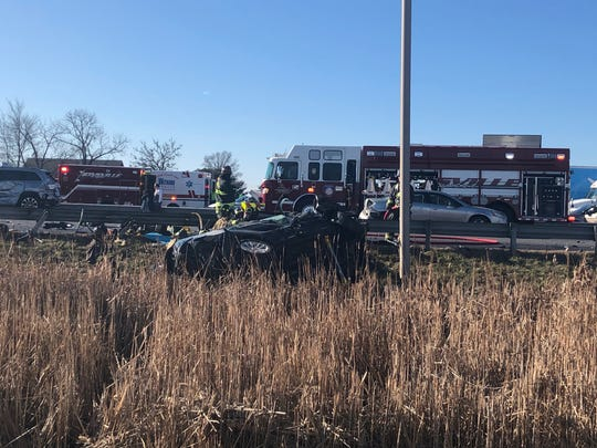 One vehicle was pinned against the guardrail and a second vehicle was pushed over the guardrail, before landing on its driver's side in the crash on I-65 at about 11.05 a.m. on Sunday, Jan. 5, 2020.