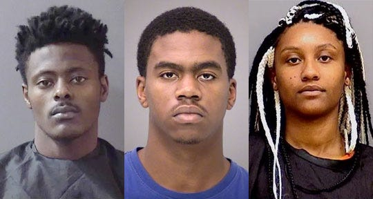 From left: Richard Garrett, Delance Hatcher and Rashaana Farrow are accused of a crime spree that left two dead.