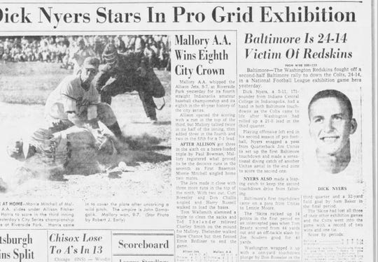 An Indianapolis Star article about Dick Nyers playing for the Baltimore Colts. He caught Johnny Unitas' first NFL touchdown pass.