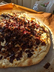 Bacon tart with caramelized onions.