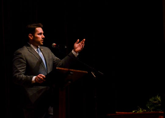 """Jackson Mayor Scott Conger gives his first """"state of the city"""" address at the First Friday Forum at First United Methodist Church in Jackson on Jan. 3, 2020."""