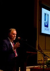 Madison County Mayor Jimmy Harris addresses the crowd at the First Friday Forum at First United Methodist Church in Jackson on Jan. 3, 2020.